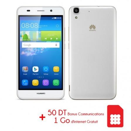Téléphone Portable Huawei Y6 / 4G / Blanc + Puce Ooredoo