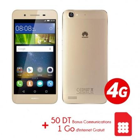 Téléphone Portable Huawei GR3 / 4G / Gold + Coque + Film de protection + Coque + Film de protection Offerts + Puce Ooredoo