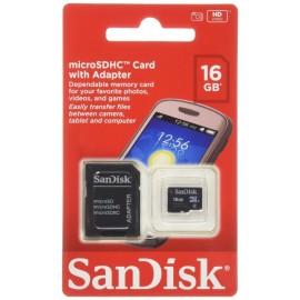 Carte Mémoire sandisk micro SDHC avec Adaptateur 16 Go