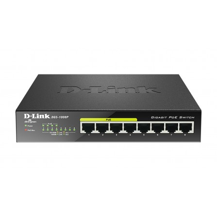 Switch D-Link 8 ports Gigabit Dont 4 Ports PoE