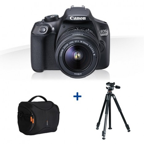 a25f320f8cdf64 Prix Appareil photo Reflex Canon EOS 1300D + Etui + Trépied ...