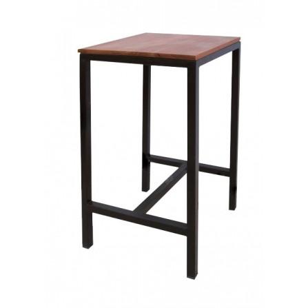 Table haute acier/bois 100x60 LUX-0708