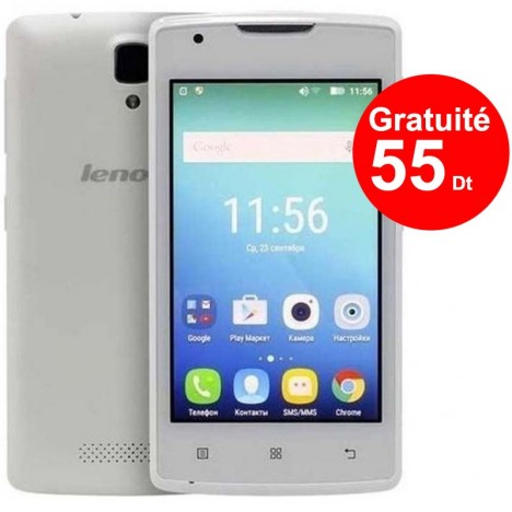 Telephone Portable Lenovo A1000 Blanc Puce DATA Ooredoo