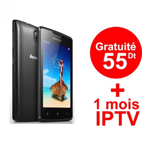 Telephone Portable Lenovo A1000 Noir Puce DATA Ooredoo