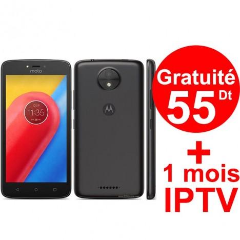 Smartphone Motorola Moto C / 4G / Noir + 1 Mois IPTV