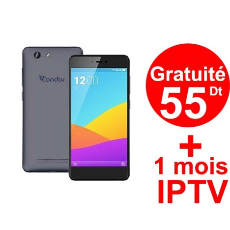 Téléphone Portable Condor Plume P7 Plus / 4G / Bleu + Gratuité 55 DT