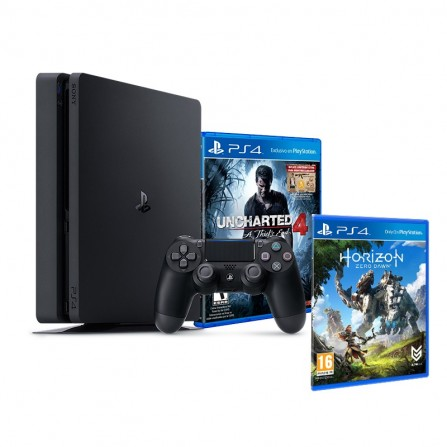 Sony PlayStation 4 Slim / 500 Go + Uncharted 4 + Horizon Zero Dawn