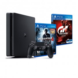 Sony PlayStation 4 Slim / 500 Go + Uncharted 4 + Gran Turismo