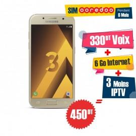 Téléphone Portable Samsung Galaxy A3 2017 / 4G / Gold + 3 Mois IPTV Offert