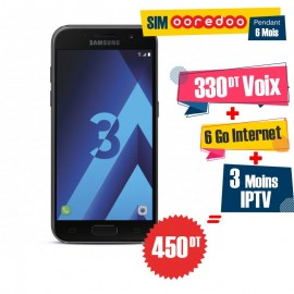 Téléphone Portable Samsung Galaxy A3 2017 / 4G / Noir + 1 Mois IPTV Offert