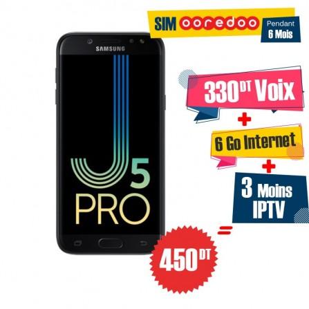 Téléphone Portable Samsung Galaxy J5 Pro / 4G / Noir + 3 Mois IPTV Offert