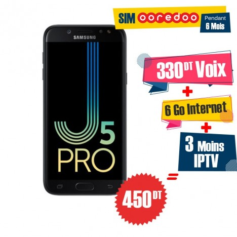 Téléphone Portable Samsung Galaxy J5 Pro / 4G / Noir + 1 Mois IPTV Offert + Gratuite 55 DT