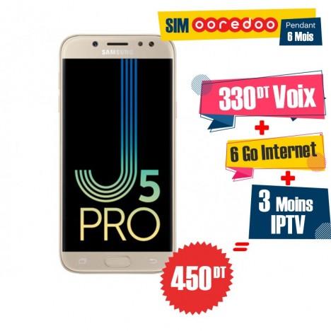 Téléphone Portable Samsung Galaxy J5 Pro / 4G / Gold + 1 Mois IPTV Offert + Gratuite 55 DT