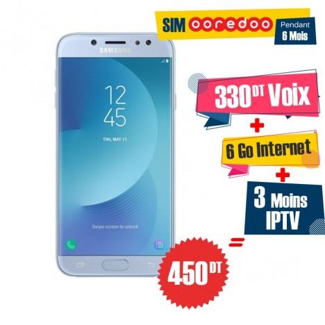 Téléphone Portable Samsung Galaxy J7 Pro / 4G / Bleu + 1 Mois IPTV Offert + Gratuite 55 DT