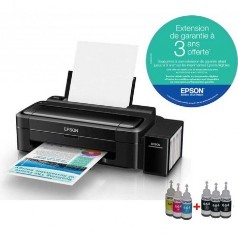 Imprimante Epson à réservoir intégré Couleur L310 + 4 Bouteilles d'encre
