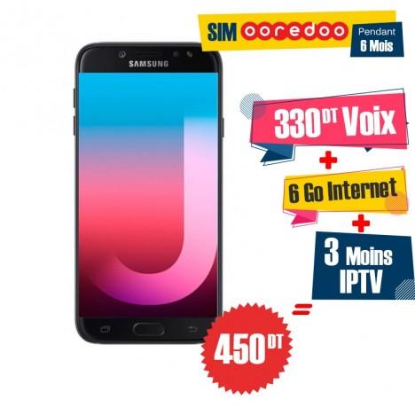 Téléphone Portable Samsung Galaxy J7 Pro / 4G / Noir + 1 Mois IPTV Offert + Gratuite 55 DT