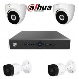 Pack Vidéo Surveillance DVR JF TECH 4CH Fribrid 4M + 2 Caméra Interne + 2 Caméra Externe