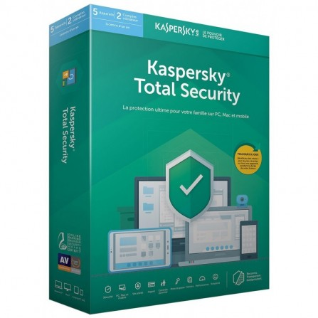 Kaspersky Total Security 2020 - 1 an / 5 postes (KL1949FBEFS-20MAG)