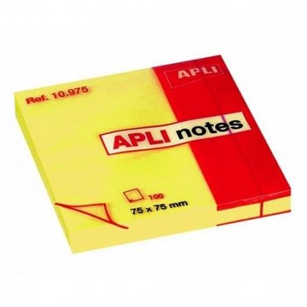 Bloc Repositionnable APLI - Jaune Brillant - 75x75 mm