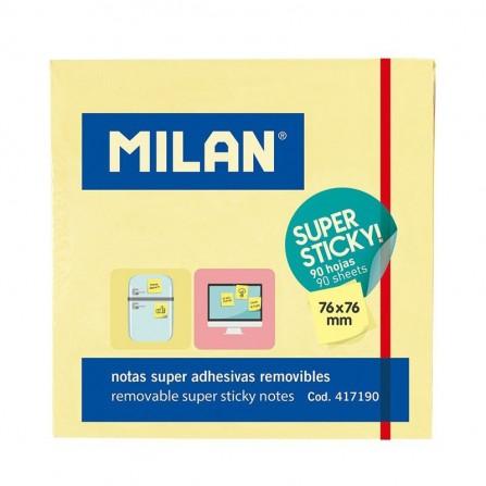 Notes Autocollantes MILAN 76x76 jaune fluo100 SHEETS