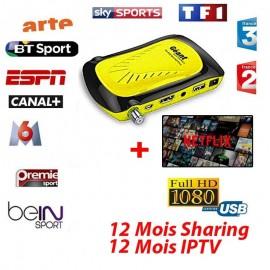 Récepteur GEANT RS8 Mini HD Plus - 12 Mois Sharing + 12 Mois IPTV +NETFLIX