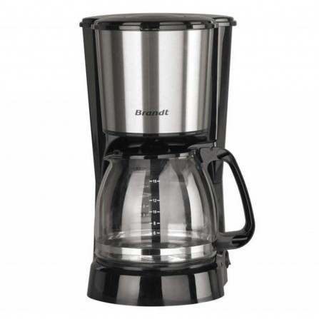 Cafetière à filtre 15 tasses Brandt 800 Watt 1,5L - Noir et Inox (CAF815X)