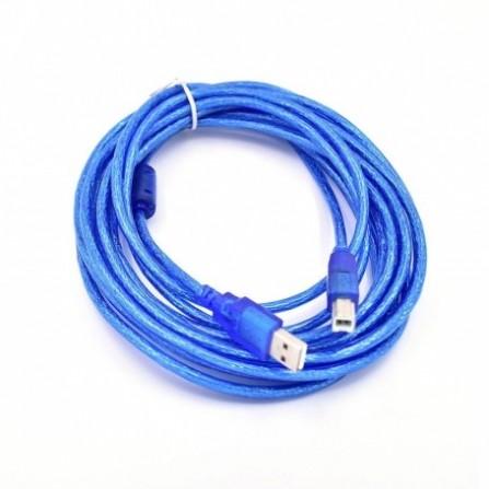 Câble USB Blindé 5M Pour Imprimante Bleu Transparent