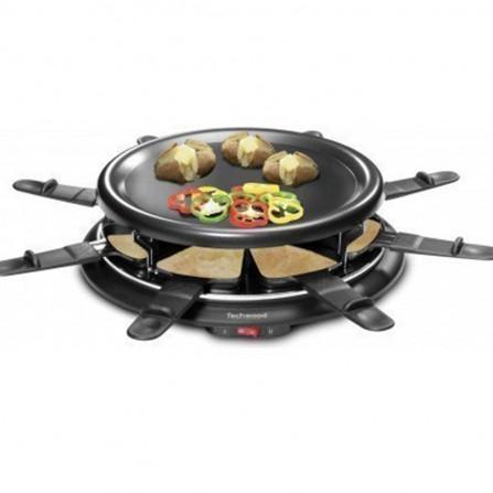 Raclette / grill + crêpière Techwood  8 personnes 900 Watt  - Noir (TRA-88)