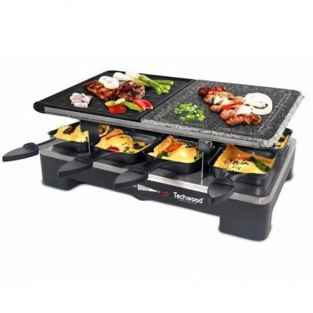 Plaque grill + pierre Techwood 8 Poêlons 1400 Watt - Noir (TRGP-690)
