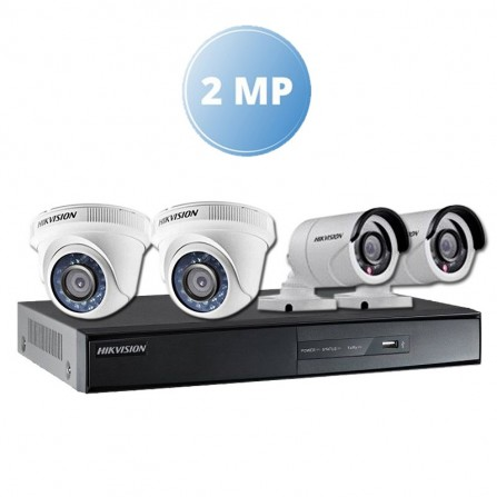 Pack Vidéo Surveillance Hikvision 2 MP DVR 8 CHANNELS+ 2 Caméra Interne 2MP + 2 Camera Externe 2MP