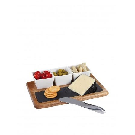 Set apéritif et fromage 5 pièces Livoo - Bois et Noir (MES110)