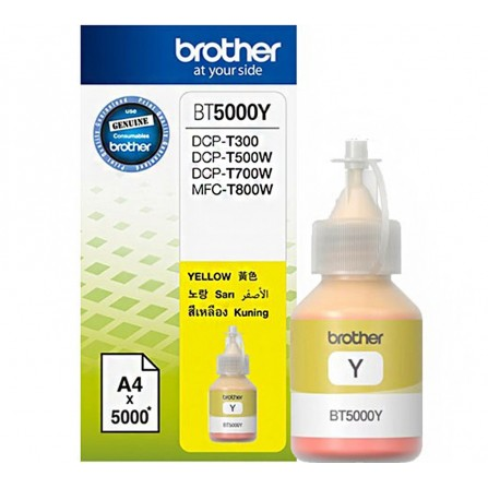 Bouteille D'encre Originale Brother BT5000Y pour Brother DCP-T300 - Jaune (5000 Pages)
