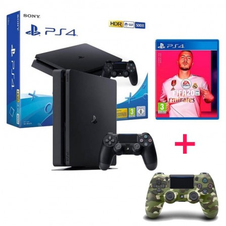 CONSOLE PS4 SLIM SONY 500GO + FIFA 20 + 2 Manettes