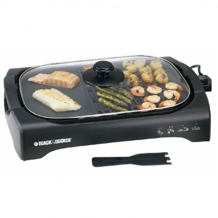 Barbecue Avec Couvercle BLACK+DECKER 2200 Watt - Noir (LGM70 )