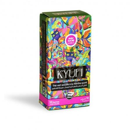 Thé vert instantané à la menthe KYUFI avec sucre-box de 10 sticks de 7,5 gr
