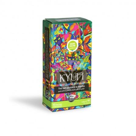 Thé vert instantané à la menthe KYUFI sans sucre-box de 10 sticks de 0,9 gr