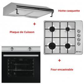Pack Encastrable FRANCO Hotte FR CL 60X + Four FR-200X + Plaque de Cuisson 60340-I