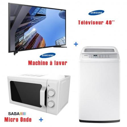 Pack SAMSUNG TV 40'' N5300 + Machine à laver top 9Kg + Micro Onde
