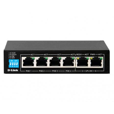 """Hub de commutation D-LINK (DES-F1006P-E) 4 ports POE + 2 ports Uplink (5 """") - (DES-F1006P-E)"""