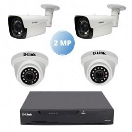 Pack Vidéo Surveillance 2 MP D-link DVR + 2 Caméra Interne + 2 Camera Externe