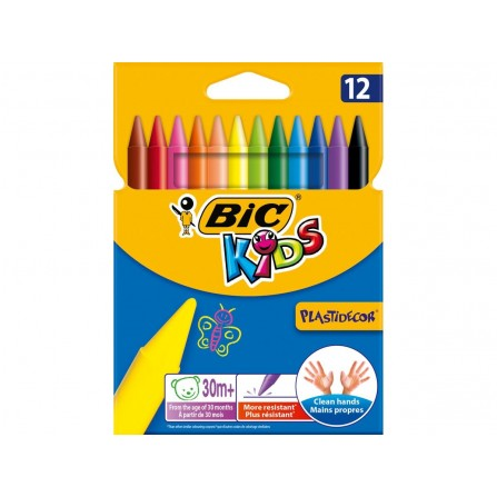 Plastidecor Lot de 12 crayons de cire Kids