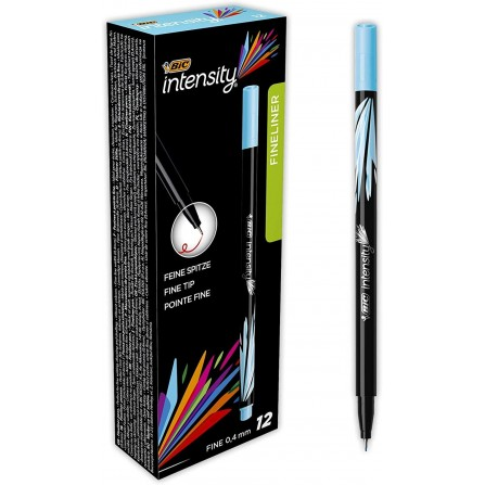Boîte de 12 Stylos Feutres Pointe Fine (0,8 mm) BIC Intensity- Turquoise (942067)