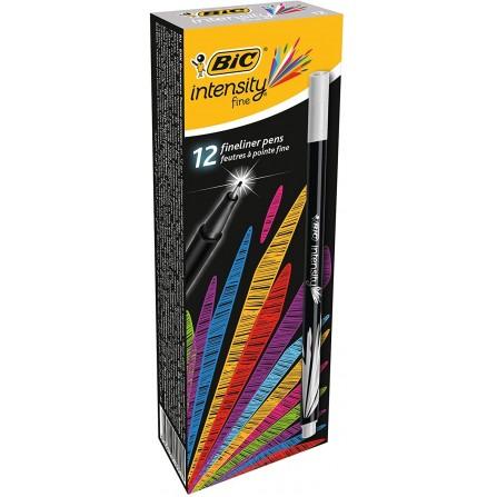 Boîte de 12 Stylos Feutres Pointe Fine (0,8 mm) BIC Intensity- Gris (942061)