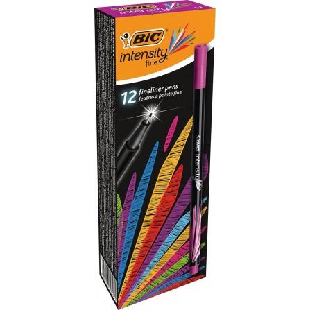 Boîte de 12 Stylos Feutres Pointe Fine (0,8 mm) BIC Intensity- Violet clair (950459)