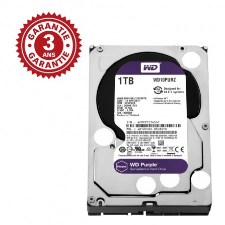 "Disque Dur Interne 3.5"" Pour Video Surveillance Western Digital Purple 1 To (WD10PURZ)"