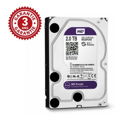 "Disque Dur Interne 3.5"" Western Digital Purple 2 To WD20PURX"
