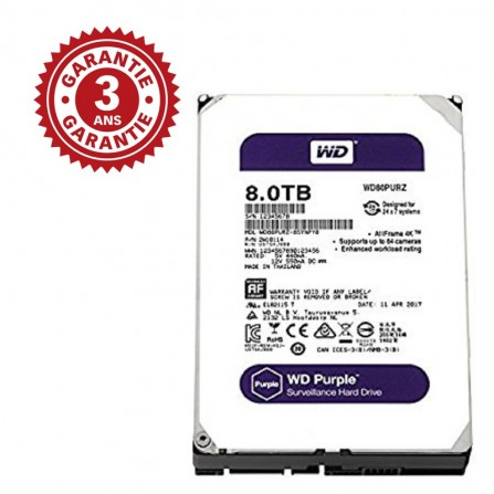 "DISQUE DUR INTERNE 3.5"" POUR VIDEO SURVEILLANCE WESTERN DIGITAL PURPLE 8 TO"