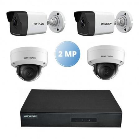 Pack Vidéo Surveillance Hikvision mini NVR 4 canaux + 2 Caméra Interne IP + 2 Camera Externe IP