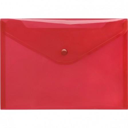 Pochette papier plastique avec bouton DELI A4Transparent ROUGE - E10442