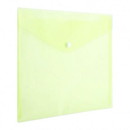 Pochette Plastique avec bouton DELI A4 transparent JAUNE - E10462